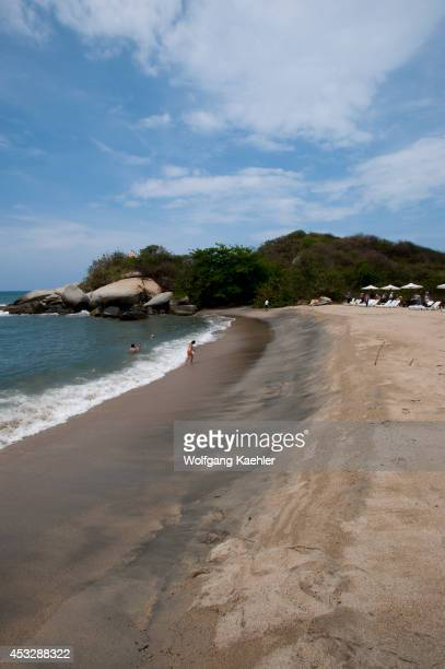Beach at Ecohabs Resort in Tayrona National Park near Santa Marta Colombia