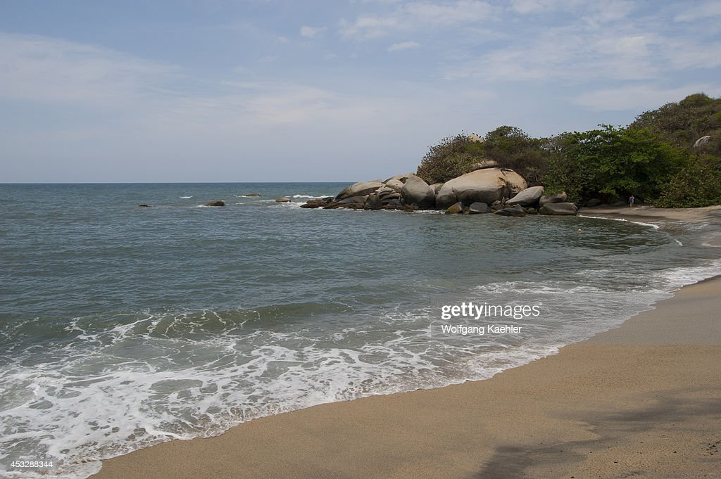 Beach at Ecohabs Resort in Tayrona National Park near Santa Marta Colombia