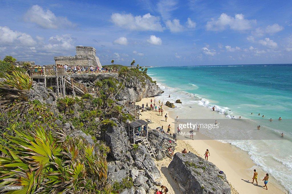 Beach at Mayan ruins of Tulum and The Castle Tulum Quintana Roo state Mayan Riviera Yucatan Peninsula Mexico