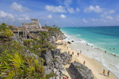 Beach at Mayan ruins of Tulum and The Castle Tulum Quintana Roo state Mayan Riviera Yucatan Peninsula Mexico