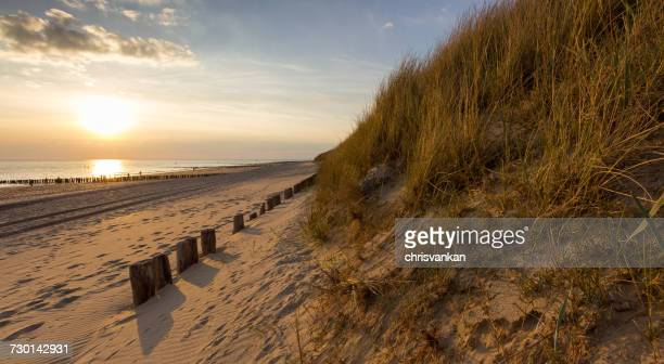 Beach at sunset, Vlissingen, Zeeland, Holland