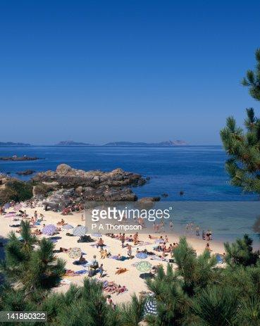 Beach at Vigo, Galicia, Spain : Bildbanksbilder