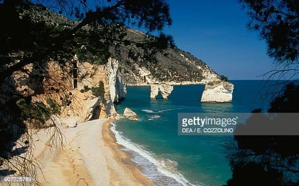 Beach at Zagare bay Gargano Apulia Italy