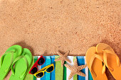 Beach background with sunglasses and flip flops