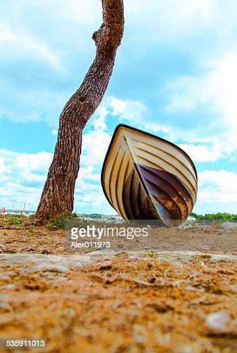 Spiaggia Background.Boat sulla spiaggia. : Foto stock