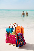 Beach Bag of Summer Gear, Holiday Vacation Suntan Lotion, Accessories