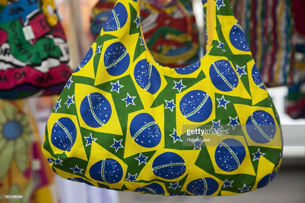 Beach bag with Brazilian flag decoration : Stock Photo