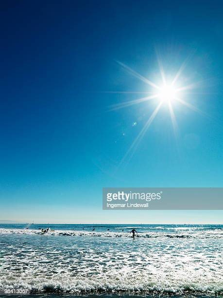 Beach beneath a blue sky USA.
