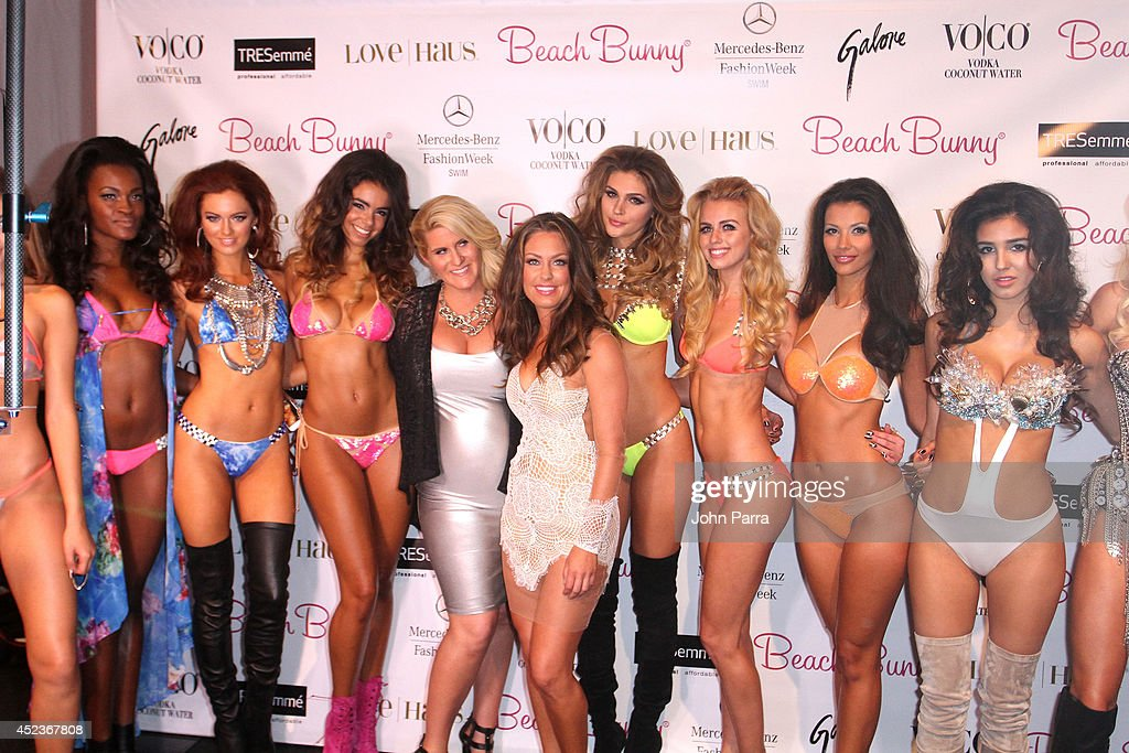 Beach Bunny Designer Angela Chittenden and models pose backstage at the Beach Bunny Featuring The Blonds show during MercedesBenz Fashion Week Swim...