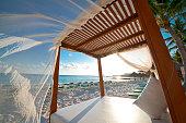 Sunrise over a Mexican beach cabana