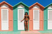 Beach cabins  in Rimini, Italy