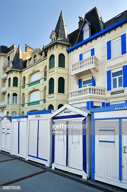 Beach cabins on the sea dyke / promenade at Wimereux Cote d'Opale PasdeCalais France