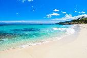 Beach Cala Moll at city Cala Rajada - beautiful coast of Mallorca, Spain - travel vacation for vacation in Europe