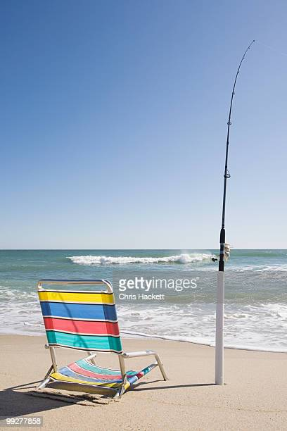 Beach chair and fishing rod