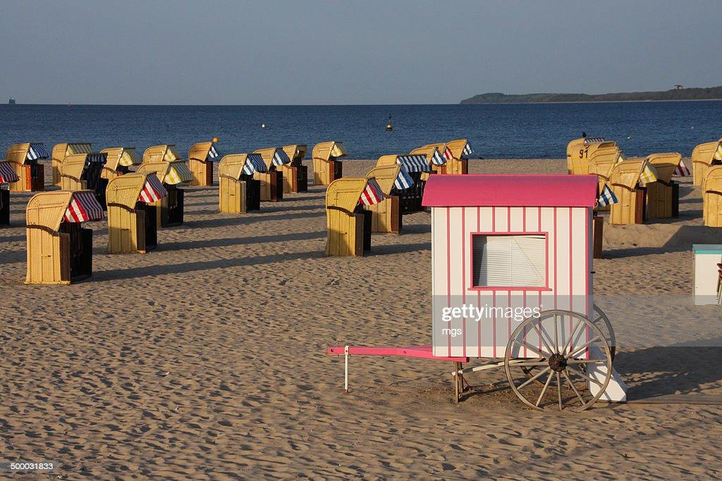 Beach chair at sunset