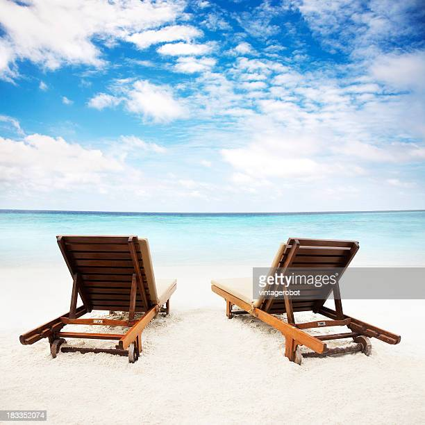 Beach chairs on the sand