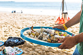 Beach Cleaning. Cleaning dirty beaches by the action of man. Sustainability of the planet and preservation of nature.