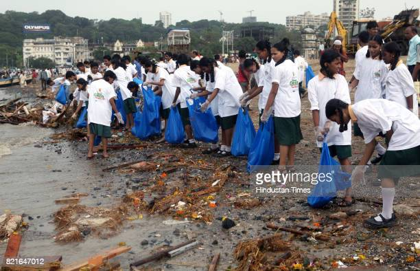 Beach Cleaning drive at Girgaon chowpathy after Ganpati immersion day in Mumbai