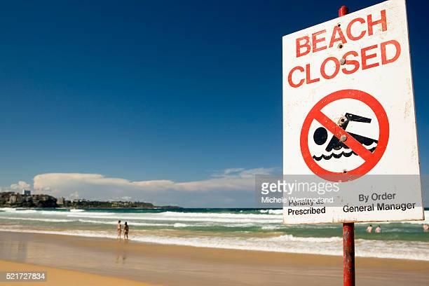 Beach Closed sign on Manly Beach Near Sydney