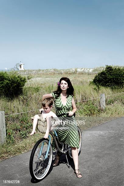 Beach Cruiser Woman and Child on Vacation