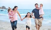 Beach Family Walking
