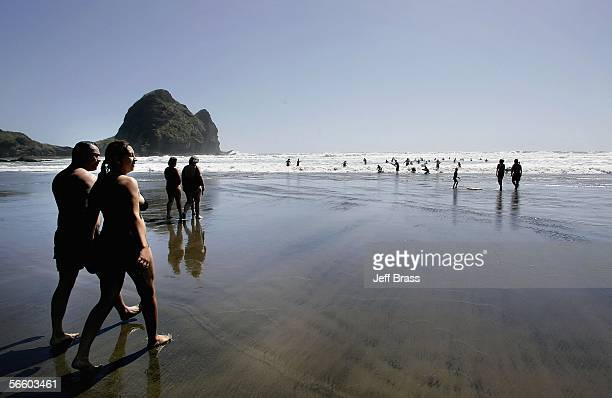 Beach goers enjoying the sun surf and sand at Piha Beach January 17 2006 in Auckland New Zealand