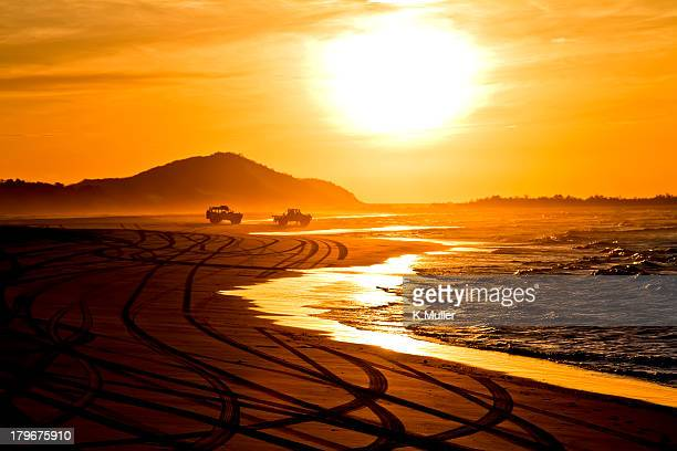 Beach highway sunset