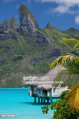 Beach home on stilts in sea, Bora Bora, French Polynesia