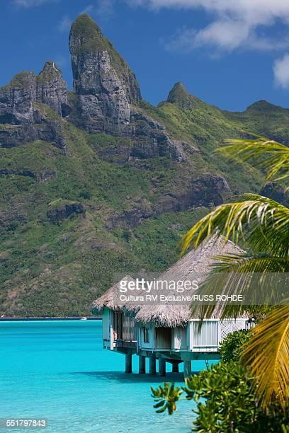 Beach home on stilts in sea, Bora Bora, French Polynesia