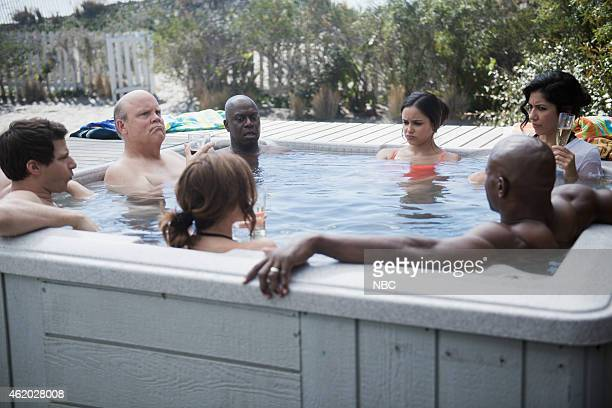 NINE 'Beach House' Episode 212 Pictured Andy Samberg as Jake Peralta Dirk Blocker as Hitchcock Andre Braugher as Ray Holt Chelsea Peretti as Gina...