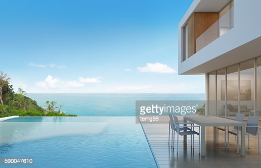 Beach house with sea view in modern design : Stock Photo