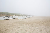 Beach Houses on the beach at the sea on July 05 2015 in Lokken Denmark