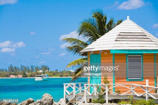 Beach hut on the beach, Nassau, Bahamas