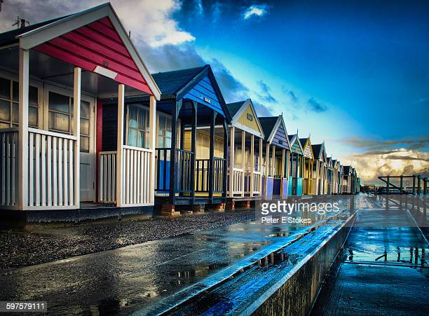 Beach Huts after a storm