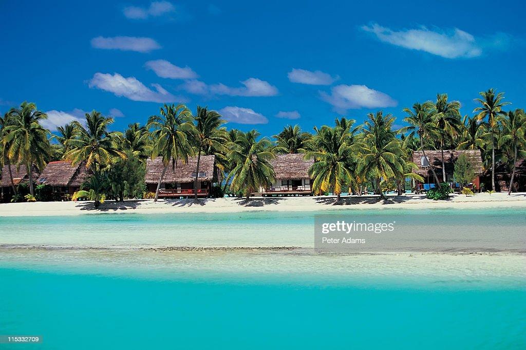 Beach huts, Aitutaki, Cook Islands : Stock Photo