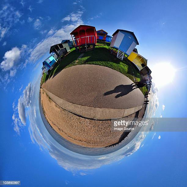 Beach huts and coast with little planet effect