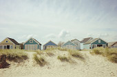 beach huts and dunes