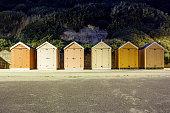 Bournemouth beach at night beach huts. Long exposure.