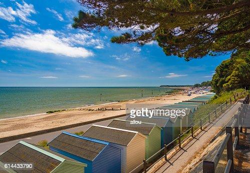 Beach Huts at Solent Beach, Hengistbury Head, Bournemouth, Dorset, England : Stock Photo
