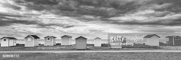 Beach huts in a row at Swedish beach