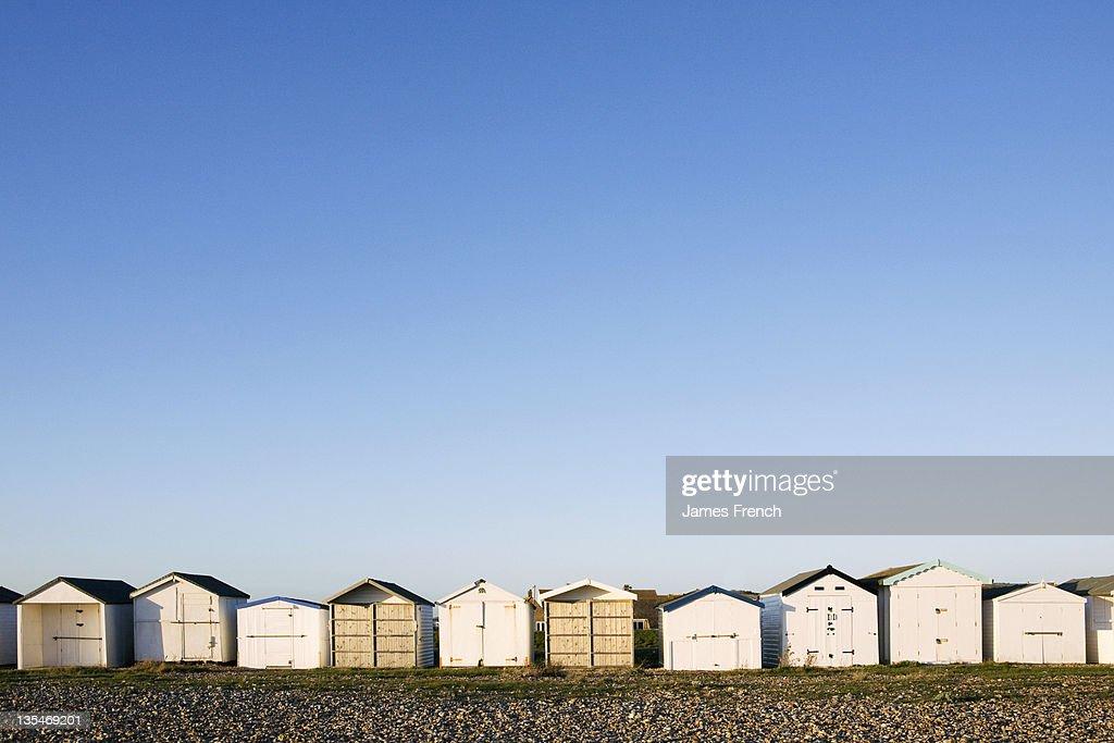 Beach huts in a row : Stock Photo