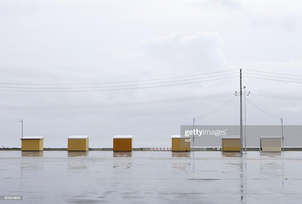 Beach huts in Aomori prefecture,Japan : Stock Photo