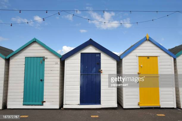 Beach huts or houses with string of lamps