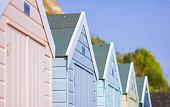 Multi coloured beach huts
