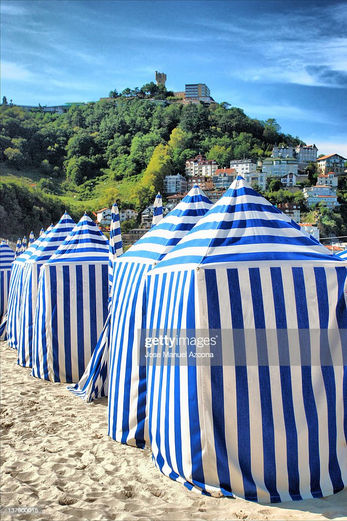 Beach huts, San Sebastian Donostia, Spain : Stock Photo