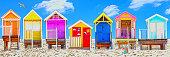 Beach huts, UK, seaside, summer