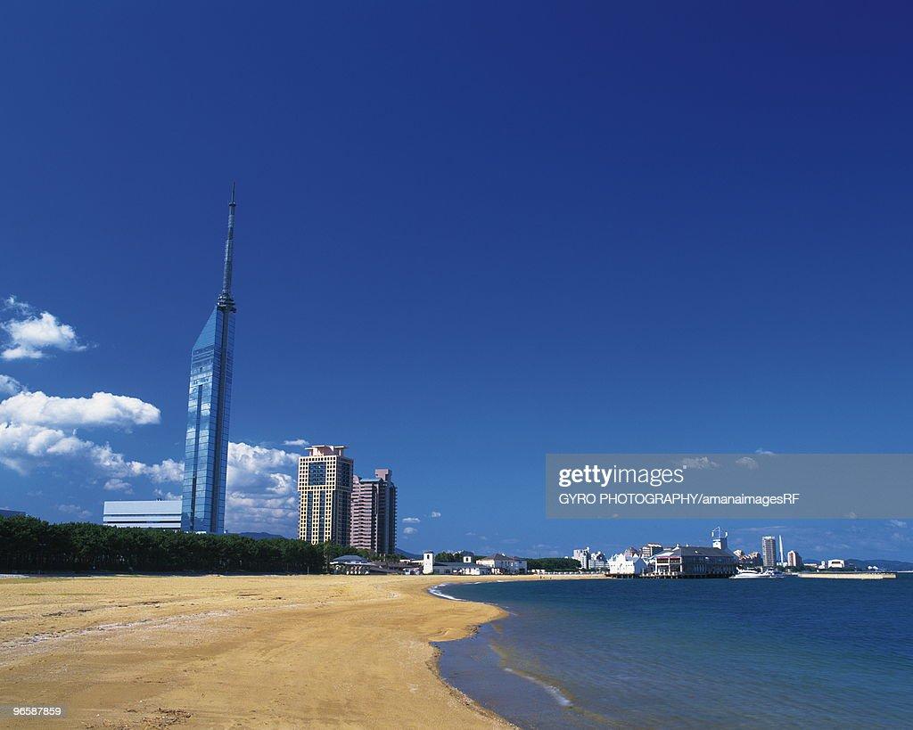 Beach in Momochihama and the Fukuoka tower,  Fukuoka,  Fukuoka Prefecture,  Japan