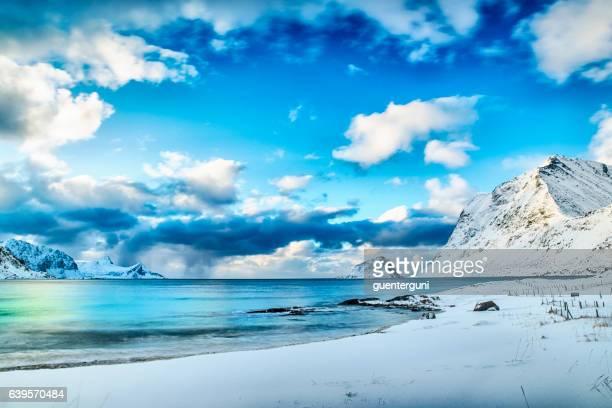 Beach in winter at the nordic atlantic ocean