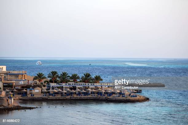 A beach is pictured July 15 2017 in the Red Sea resort city of Hurghada Egypt where the previous day an Egyptian man stabbed two German tourists to...