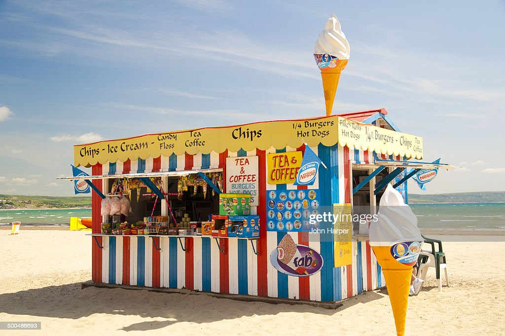 Beach Kiosk on Weymouth Beach, Dorset, UK.
